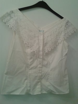 Perry Landhaus Blusa in merletto bianco sporco Cotone