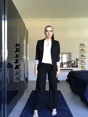 basic breit geschnittene stoffhose in schwarz