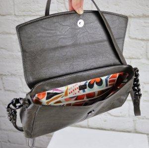 Basic Elegant Handtasche Betty Barclay Dunkelgrau Grau Kettenhenkel Baguette Retro Magnetverschluss