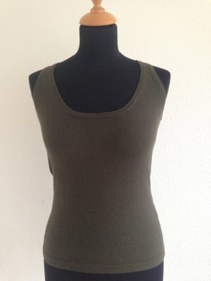 Basic Feinstrick ärmelloses Top dark armygreen XS Blogger Label Designer