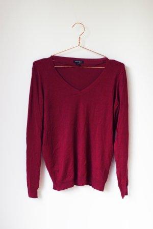 Basic Feinstrick Pullover mit V-Ausschnitt Amisu S 36 Pulli rot dunkelrot