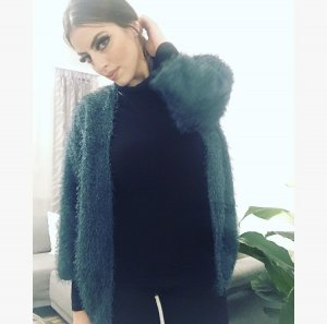H&M Divided Fake Fur Jacket petrol