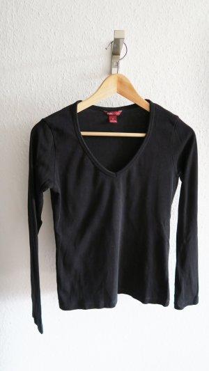 Basic langarm Shirt V-Ausschnitt schwarz Longsleeve