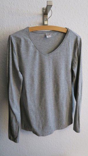 Basic Longsleeve grau Shirt langärmelig mit V-Ausschnitt