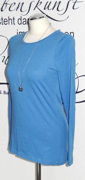 Basic-Longsleeve in schönem Blauton (Rundhalsausschnitt, 100% Baumwolle) - Nur einmal getragen!