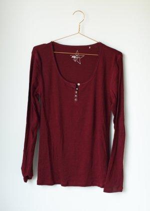 Basic Longsleeve Shirt Tshirt mit Knopfleiste XL 42 Fishbone dunkelrot rot Bordeaux