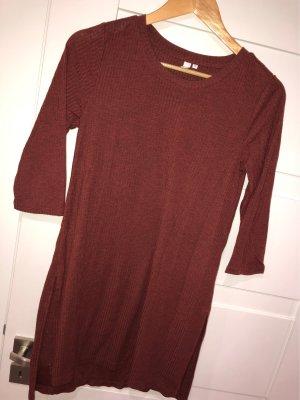 Q/S Geribd shirt roodbruin