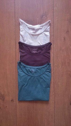 Basic Longsleeves Shirt Set petrol blau schoko dunkelbraun nude creme 36 38 S M