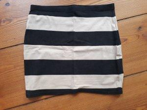 Basic Minirock, schwarz-beige gestreift