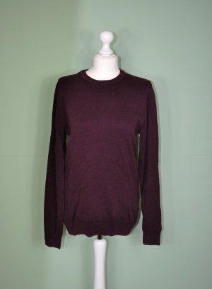 Basic Pullover in Weinrot mit Bund