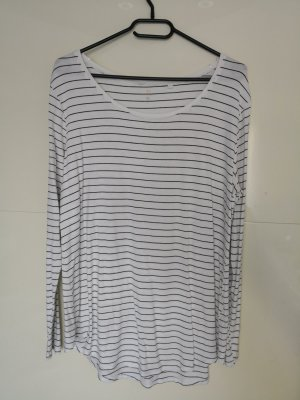 Basic Pullover, Langarmshirt, Gr. L, weiß schwarz, C&A