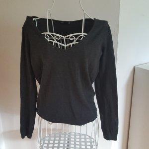 Basic-Pullover mit V-Ausschnitt grau