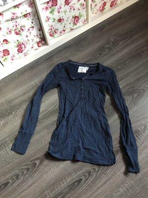 Basic Pullover Oberteil Shirt blau Knöpfe langärmelig