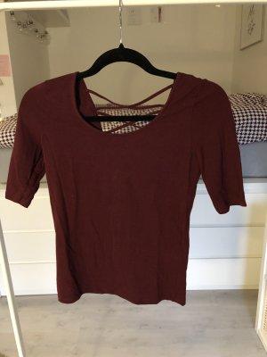 Basic Shirt 3/4-Ärmel bordeaux weich Rückenausschnitt Bershka