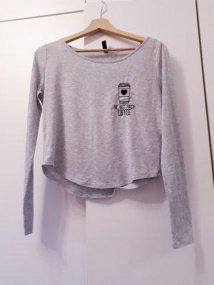 H&M Cropped shirt zwart-lichtgrijs