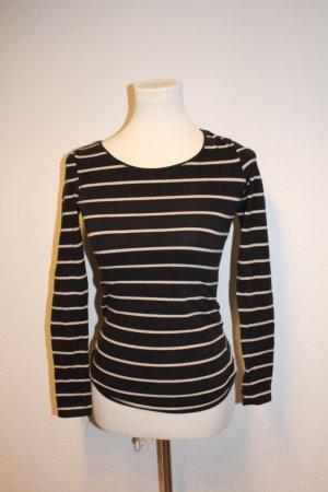 H&M Lang shirt zwart-zandig bruin Katoen