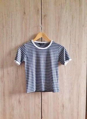 Topshop T-shirt wit-donkerblauw