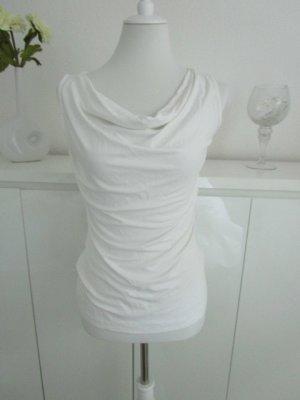 Gina Benotti Camisa con cuello caído blanco