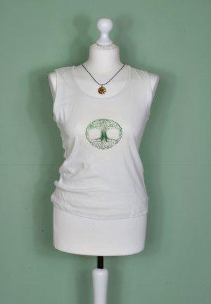 Basic Shirt in Creme mit Baum Druck