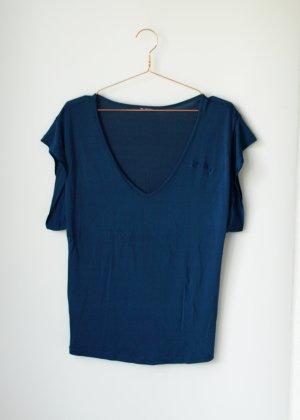 Basic Shirt Tshirt Blau Türkis Petrol Replay Strass Strasssteine V Ausschnitt S/M