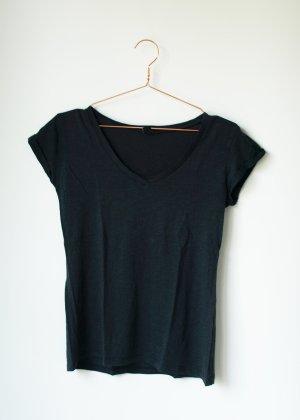 Basic Shirt Tshirt Grau dunkelgrau Anthrazit XS Amisu V Ausschnitt