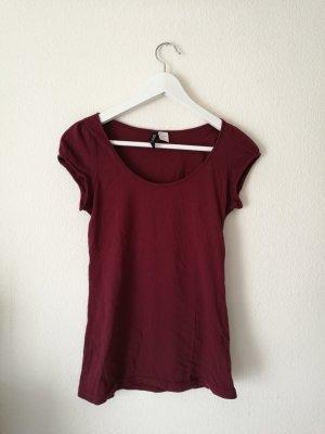 Basic-T-Shirt in bordeaux