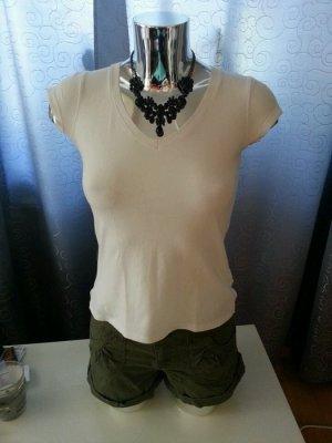 Basic T-Shirt weiß V-Ausschnitt