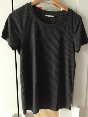 Basic Tee mit Rippenmuster