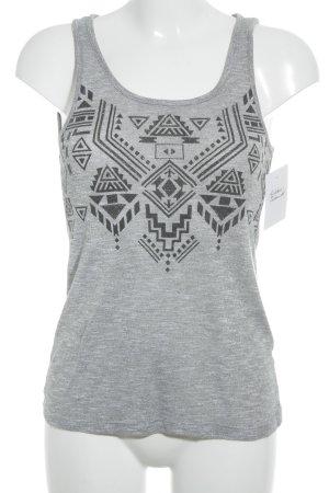 Basic topje zilver prints met een thema atletische stijl