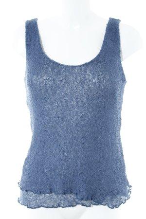 Top basic blu acciaio stile casual