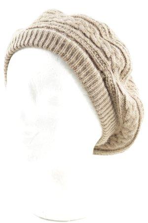 Baskenmütze beige-camel Kuschel-Optik