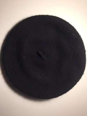 Baskenmütze in Schwarz 100% Wolle