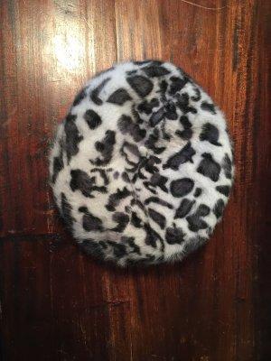 Baskenmütze Pariser Mütze Leo Muster grau schwarz