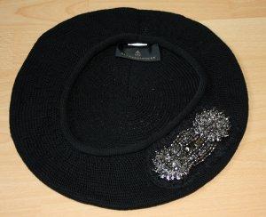 Baskenmütze - schwarz/ silber