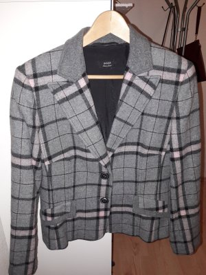 Basler Black Label Blazer Wolle grau rosa Gr. 40 Patches