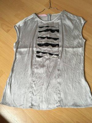 Basler Bluse Silber schwarz Spitze kurzärmlig Reisverschluss S 36 38