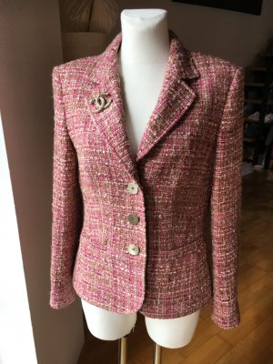Basler edler Boucle Blazer rosa nude beige pink gold Lurex