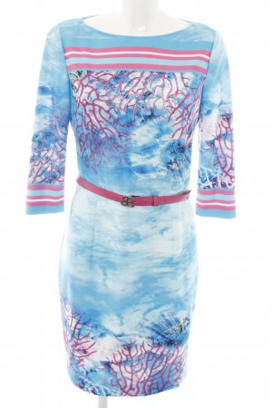 Basler Robe fourreau bleu-rose motif abstrait style décontracté