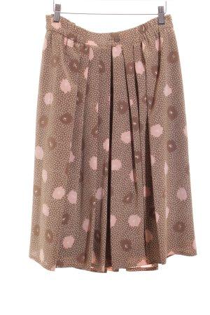Basler Faltenrock beige-rosé florales Muster Romantik-Look
