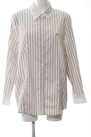 Basler Hemd-Bluse braun-weiß Allover-Druck Business-Look