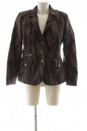 Basler Short Blazer brown-light grey abstract pattern casual look