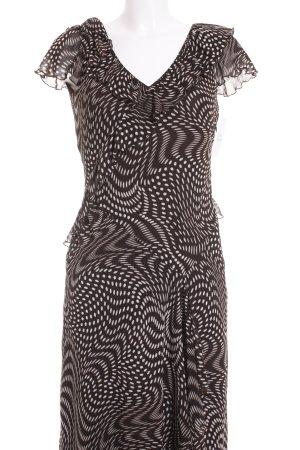Basler Kurzarmkleid dunkelbraun-weiß abstraktes Muster Elegant