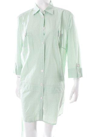 Basler Long-Bluse weiß-hellgrün Streifenmuster