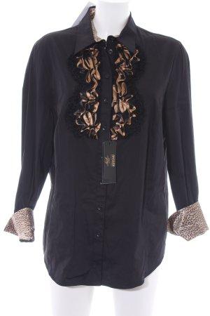 Basler Rüschen-Bluse schwarz-nude Leomuster Elegant