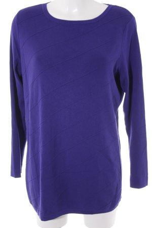 Basler Rundhalspullover dunkelviolett-lila Webmuster extravaganter Stil