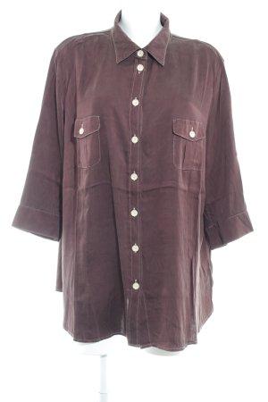 Basler Blusa in seta marrone-rosso stile casual