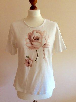 Basler Shirt, Weiß, Rose Pailletten, Gr. 40