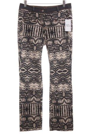 Basler Straight-Leg Jeans schwarz-beige abstraktes Muster Casual-Look