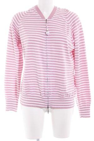 Basler Strickjacke rosa-weiß Streifenmuster Casual-Look