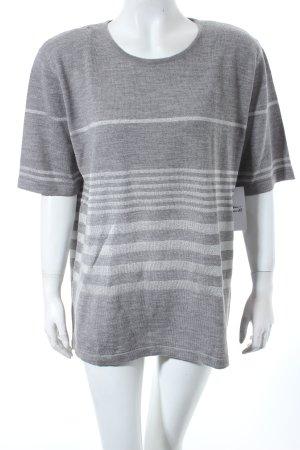 Basler Strickshirt grau-silberfarben Streifenmuster Schimmer-Optik